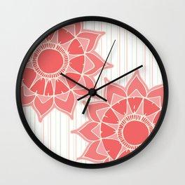 Pastel color coral pink floral mandala stripes Wall Clock