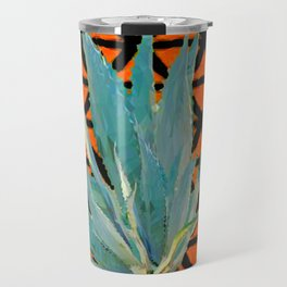 CUMIN ORANGE BLUE DESERT AGAVE CACTI ART Travel Mug