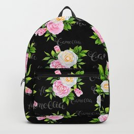 Watercolor blush pink white black camellia floral typography Backpack