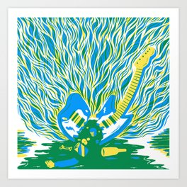 Guitar Explosion Art Print