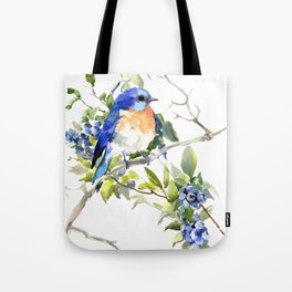 Bluebird and Blueberry Tote Bag