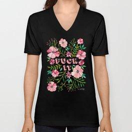 Fuck It – Pink & Green Floral Palette Unisex V-Neck