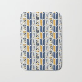 Memphis Style Geometric Abstract Seamless Vector Pattern Yellow and Blue Bath Mat