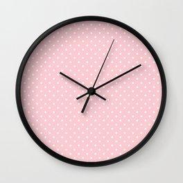 Mini White Polka dots on Pale Millennial Pink Pastel Wall Clock