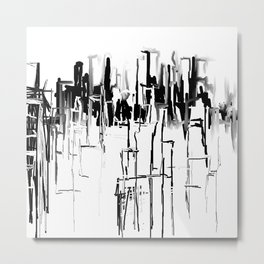 Black and White Cityscape Metal Print