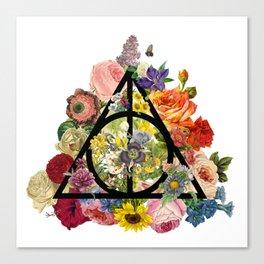 Floral Deathly Hallows - Black Canvas Print