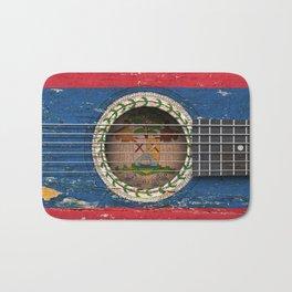 Old Vintage Acoustic Guitar with Belize Flag Bath Mat