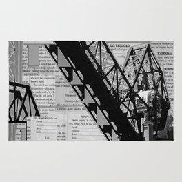 Rail Bridge in Black and White Rug