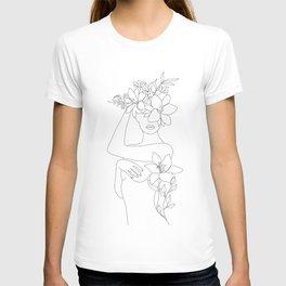 Minimal Line Art Woman with Flowers VI T-shirt