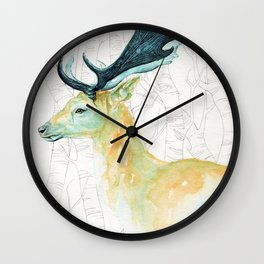 Scandinavian stag illustration Wall Clock