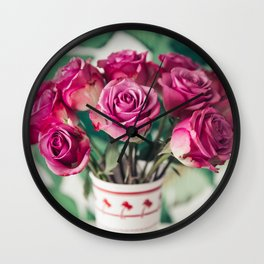 Purple Roses Against Banana Palms Wall Clock