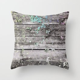 Planks and leaves Throw Pillow