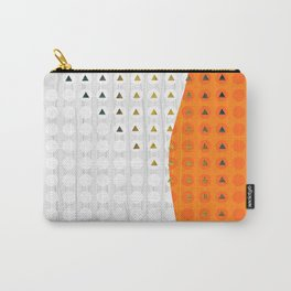 Orange and White Wavy Geometric Dot and Triangle Carry-All Pouch