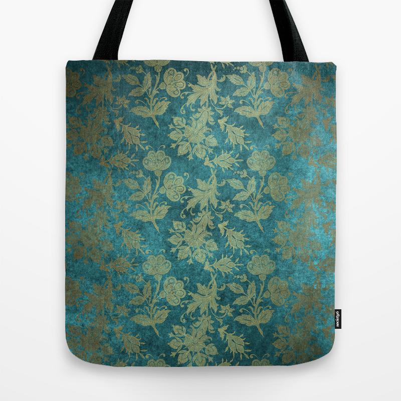 Blue Velvet Gold Floral Pattern 04 Tote Bag by Bridax TBG8740913
