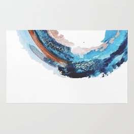 Galaxies Collide: a minimal, abstract watercolor in blues and pink by Alyssa Hamilton Art Rug