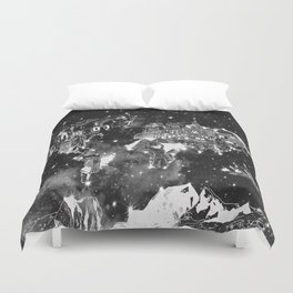 world map galaxy black and white Duvet Cover
