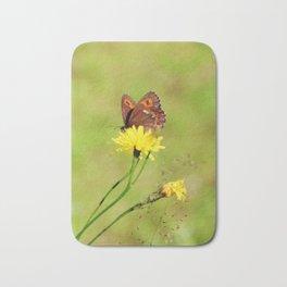 Arran Brown butterfly and yellow flower Bath Mat