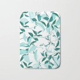 fresh green leaf pattern Bath Mat