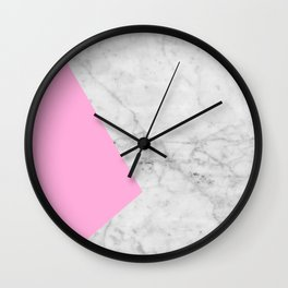 Pink Marble Collage Wall Clock