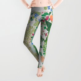 Painterly Floral Jungle on Pink and White Leggings