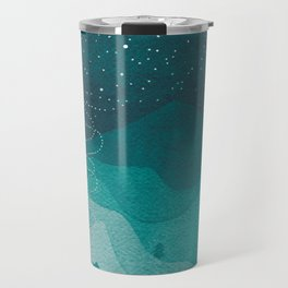 Stars factory, teal mountains house watercolor landscape Travel Mug