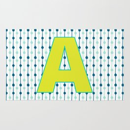 Letter A Monogram Blue, Green and Yellow with Pattern Rug