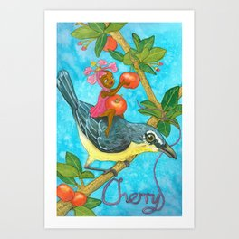 Fruits and Fantasy: Cherry/Yellow breast bird Art Print