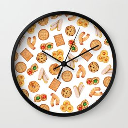 Biscuits, cookies, sweets and pastries Illustration | Food illustration Wall Clock