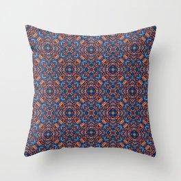 Bright Blue and Orange Beadwork Inspired Pattern Throw Pillow