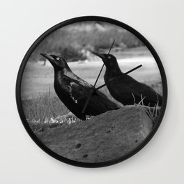 Two Crows Row Wall Clock