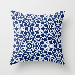 Indigo pattern II Throw Pillow