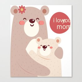 Mutual snatched bear mother and child Canvas Print