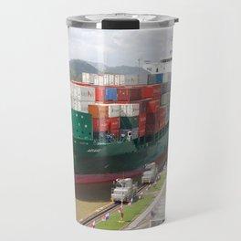 A cargo ship crossing the Miraflores locks at the Panama Canal Travel Mug
