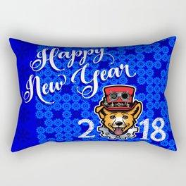 Happy New Year 2018 Yellow Dog Rectangular Pillow