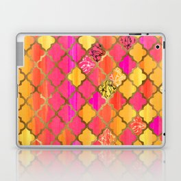 Moroccan Tile Pattern In Pink, Red, Orange, And Gold Laptop & iPad Skin