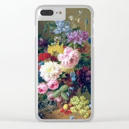 Arnoldus Bloemers - Flowers with Fruit and a Bird's Nest on a Marble Ledge Clear iPhone Case