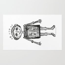 Little robot white and black drawing Rug