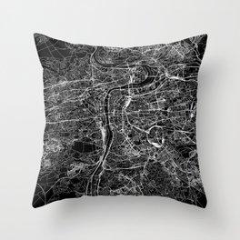 Prague Black Map Throw Pillow