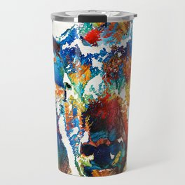 Colorful Buffalo Art - Sacred - By Sharon Cummings Travel Mug