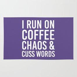 I Run On Coffee, Chaos & Cuss Words (Ultra Violet) Rug