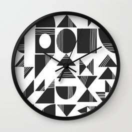 Shape and Line in Black and White Wall Clock