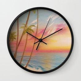 Paradise, Beautiful Beach, Peaceful Beach, Pastel Beach, Beach decor Wall Clock