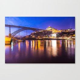 Porto at night Portugal Canvas Print