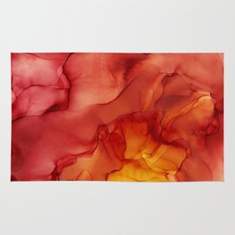 Red Sunset Abstract Ink Painting Red Orange Yellow Flame Rug