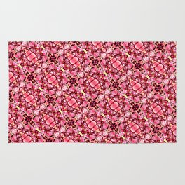 Red and pink flower pattern Rug