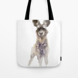 Watercolor African Wild Dog Painting Tote Bag