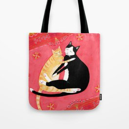 Cats on a rug Tuxedo cat and Orange Tabby by Tascha Tote Bag