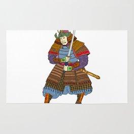 Vintage Samurai Katana Woodblock Print Rug