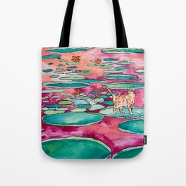 Ginger Cat amongst the Lily Pads on a Pink Lake Tote Bag