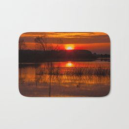 Sundown over Biebrza river in Poland Bath Mat